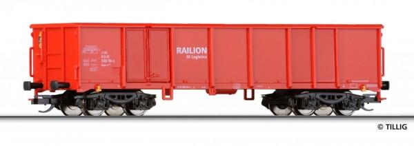 "Tillig 15247 TT-Offener Drehgestell-Güterwagen Ep. V, der ""Railion-Logistics"", eingestellt bei d. DB"