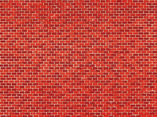 """Auhagen 50104 H0/TT 5-Dekorpappen """"Ziegelmauer"""", rot"""