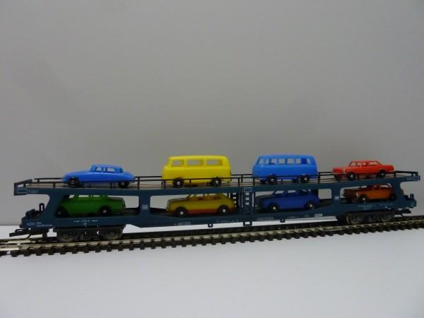Krüger-TT-Modellbahn 9323 TT-Autotransportwagen mit Fahrzeuge, Ep. IV, eingestellt bei der DB
