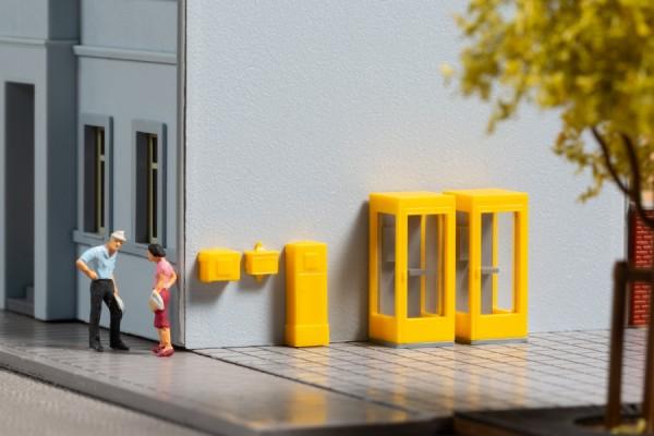 Auhagen 44652 N-Ausschmückung-Zubehör, Telefonzellen und Briefkästen